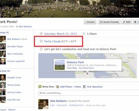 Facebook Adds Weather Forecast to Event Pages